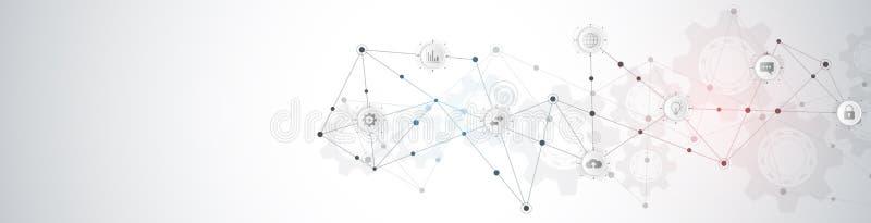 网站倒栽跳水或横幅设计有抽象技术经验和连接的小点和线 数字技术和 向量例证
