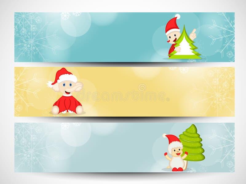 网站倒栽跳水或横幅为圣诞快乐庆祝设置了 库存例证