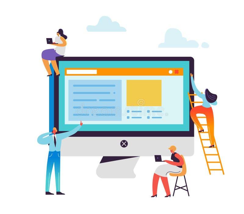 网站发展概念 创造应用程序设计的网络开发商字符 一起研究计算机的男人和妇女 向量例证