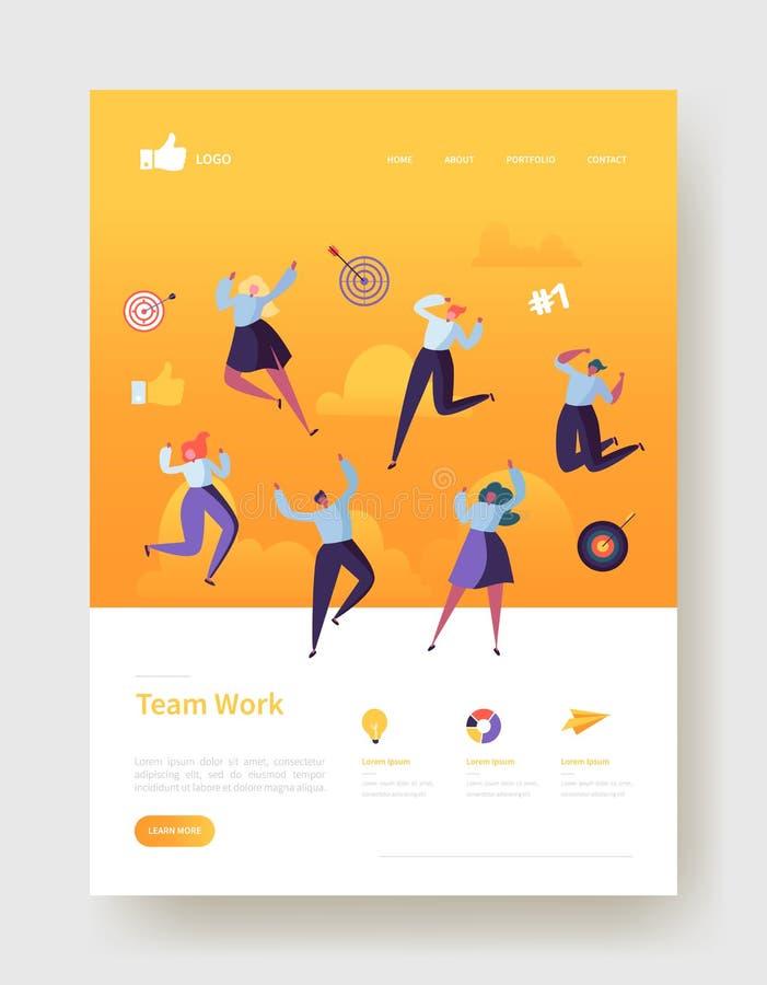 网站发展着陆页模板海报,横幅 与愉快的平的人字符的流动应用布局 向量例证