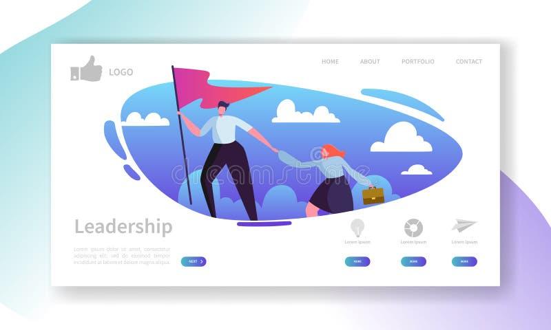 网站发展着陆页模板 与平的商人领导的流动应用布局在与旗子的上面 库存例证