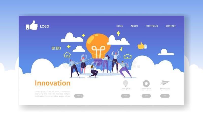网站发展着陆页模板 与拿着电灯泡的平的商人的流动应用布局 库存例证
