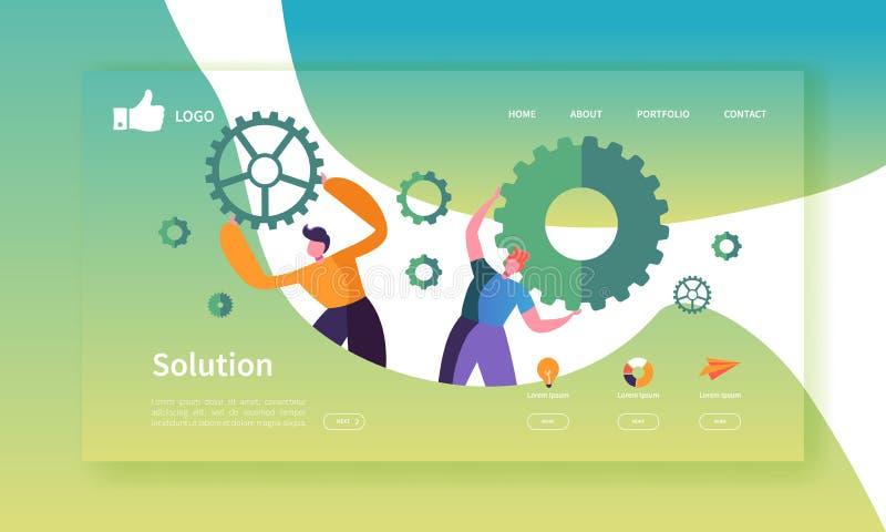 网站发展着陆页模板 与拿着齿轮的平的商人的流动应用布局 小组工作 向量例证