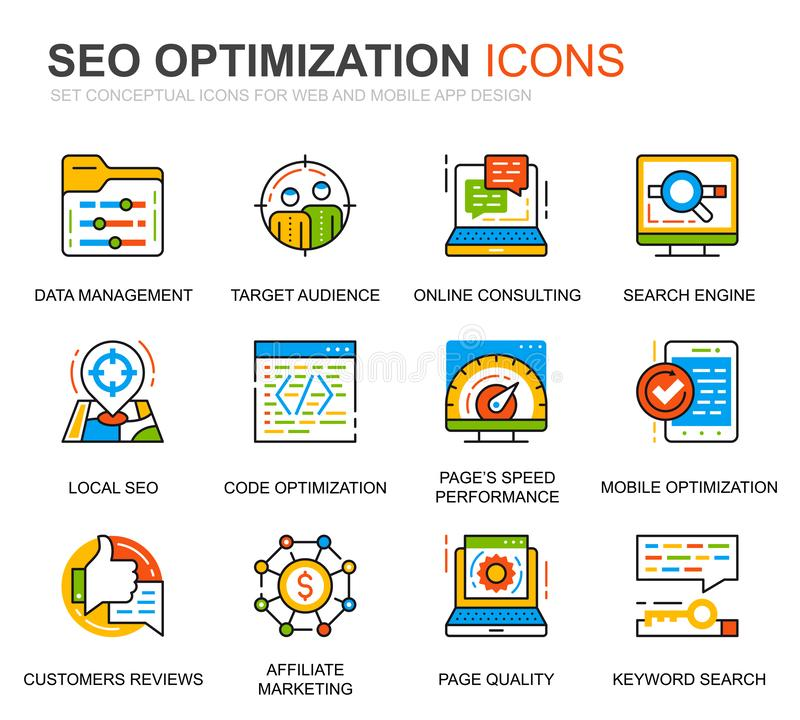 Simple Set Seo and Web Optimization Line Icons for Website and Mobile Apps 矢量象形图包 向量例证
