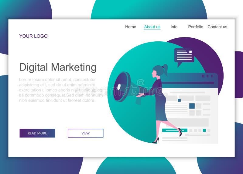 网站和移动网站网页设计的现代平面设计理念 数字营销的登录页模板 向量例证