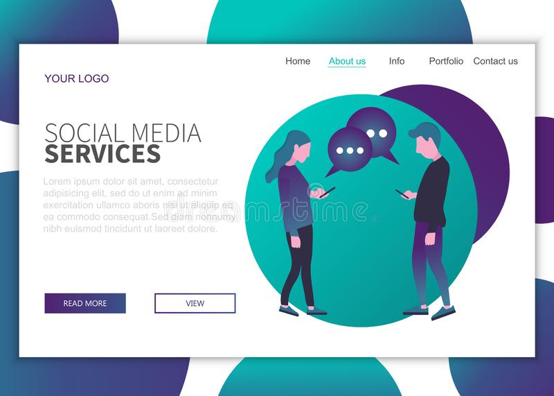 网站和移动网站网页设计的现代平面设计理念 社交媒体服务登录页模板 向量例证
