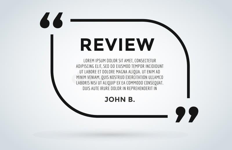 网站回顾行情引证空白模板传染媒介象评论顾客圈子纸信息文本闲谈引用 向量例证