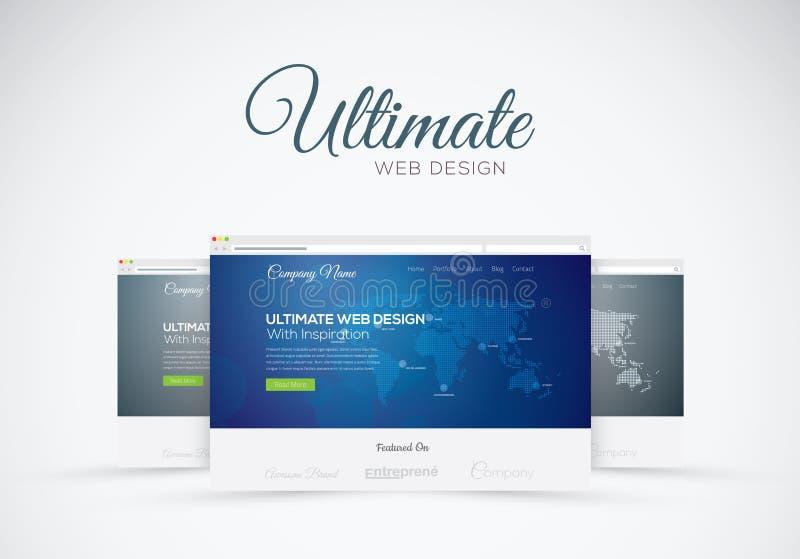 网站在浏览器传染媒介概念的设计陈列室 向量例证