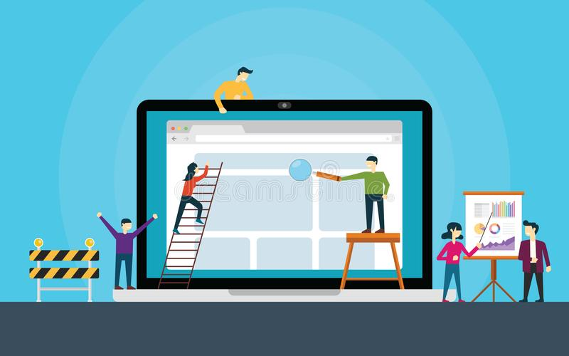 网站在膝上型计算机修造前面的开发小组网站 向量例证