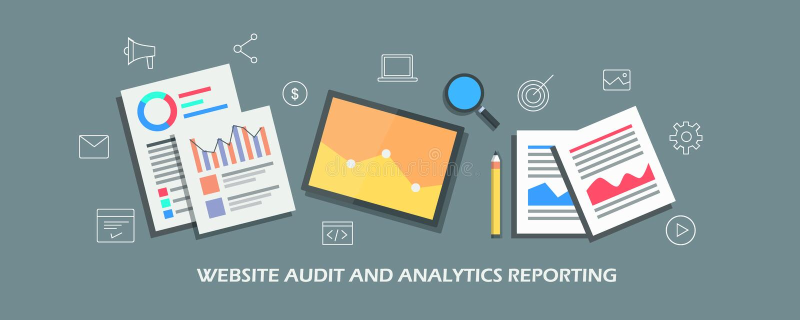 网站审计,销售的逻辑分析方法报告,测量网上业绩 平的设计传染媒介横幅 向量例证
