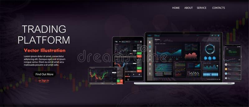 网站屏幕模板 外汇市场、新闻和分析 库存例证