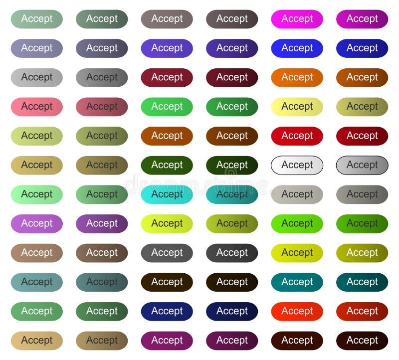 网站或应用接受按钮, tumbnail点击所有颜色 皇族释放例证