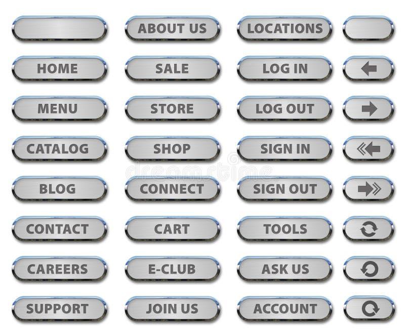 网站按钮和钢象 皇族释放例证