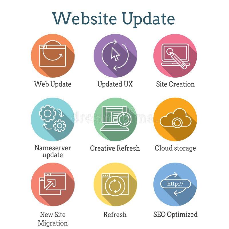 网站更新象设置与seo更新、站点创作和名服务程序更新 向量例证