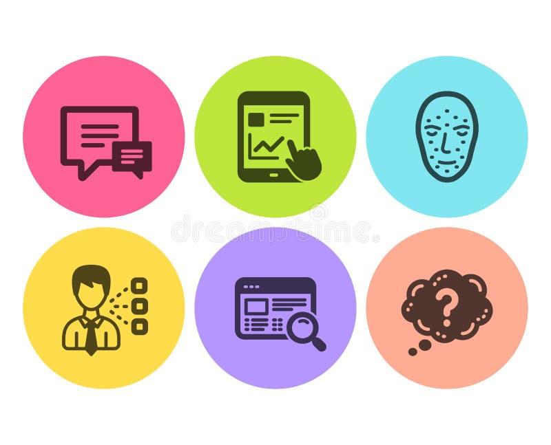 网站查寻、第三方和互联网报告象集合 评论,面孔生物测定学和问号标志 ?? 库存例证