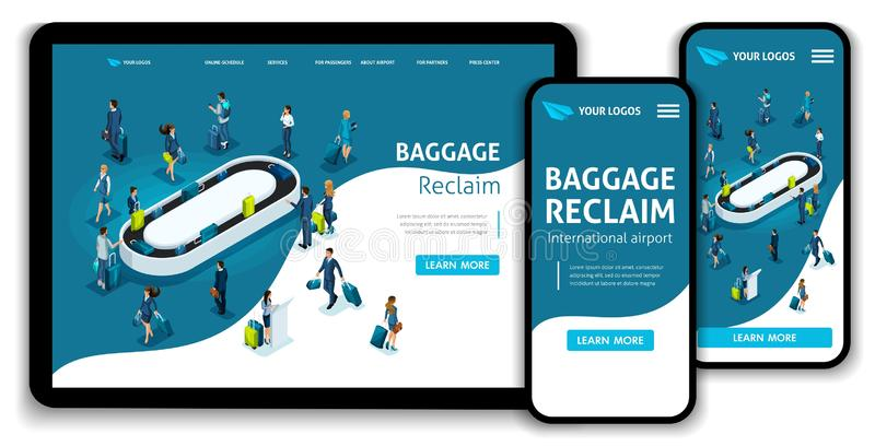 网站模板着陆页等量概念国际机场,行李开垦,出差 容易编辑和定做 向量例证