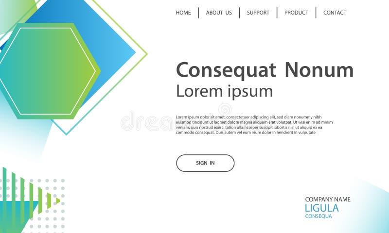 网站模板设计和着陆呼叫几何形状backgr 向量例证