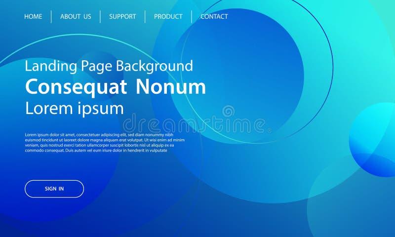 网站模板设计和着陆呼叫线蓝色动态的形状 皇族释放例证