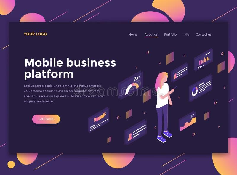 网站模板-流动商业platfor平的现代设计  向量例证