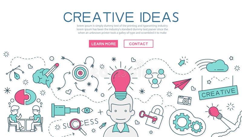 网站横幅和着陆页的创造性的想法 库存例证