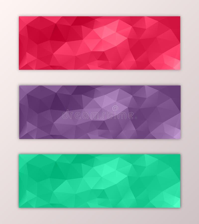 网站横幅模板集合抽象三角多角形五颜六色的背景设计 向量例证