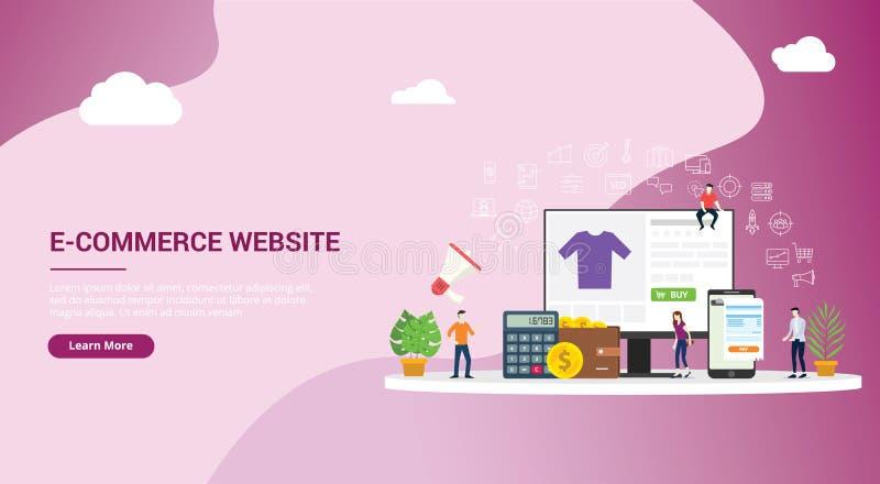 网站登陆的页设计ui ux连接电子商务网络购物与人买与网站接口与金钱的推车象 向量例证