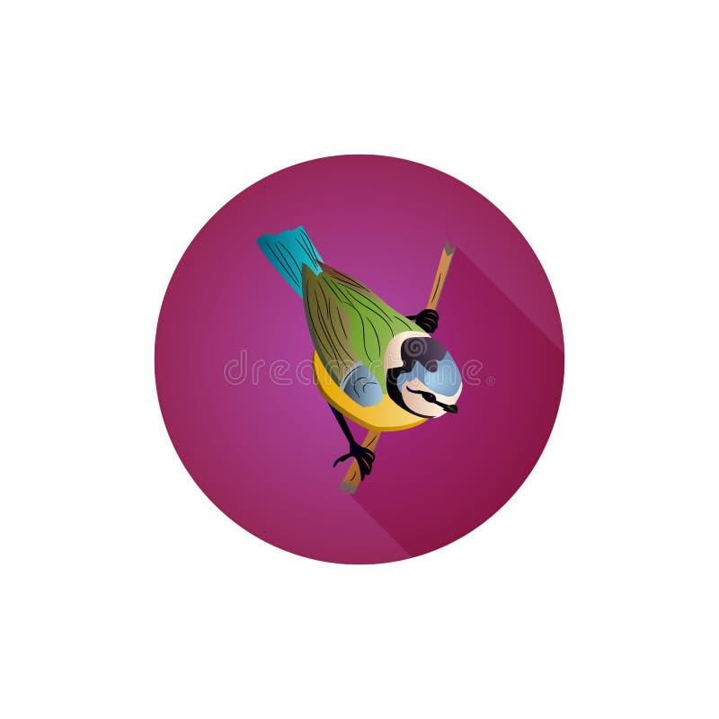 网站的,在分支,山雀,平的样式的鸟圆的紫色象, 皇族释放例证