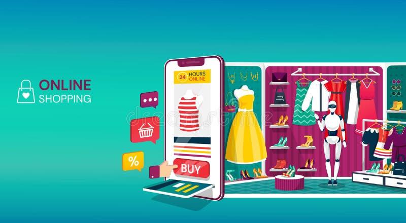 网站的,流动应用网络购物概念 手推车、按钮、付款槽孔与信用卡和a 向量例证