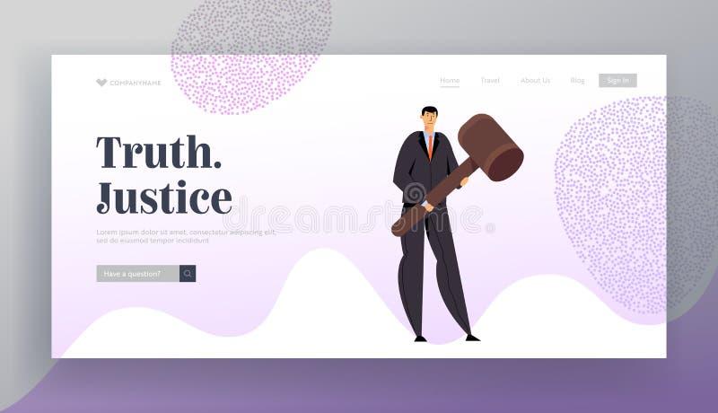 网站着陆页的,法庭上佩带黑衣服藏品巨大的惊堂木的律师律师法庭和正义概念 库存例证