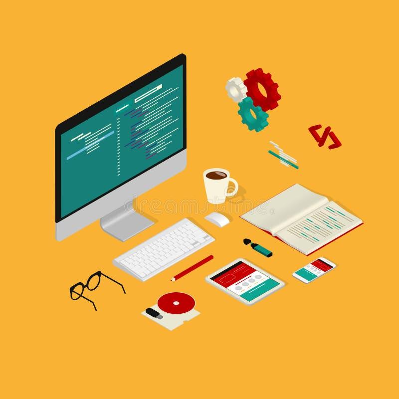 网站编制程序 向量例证