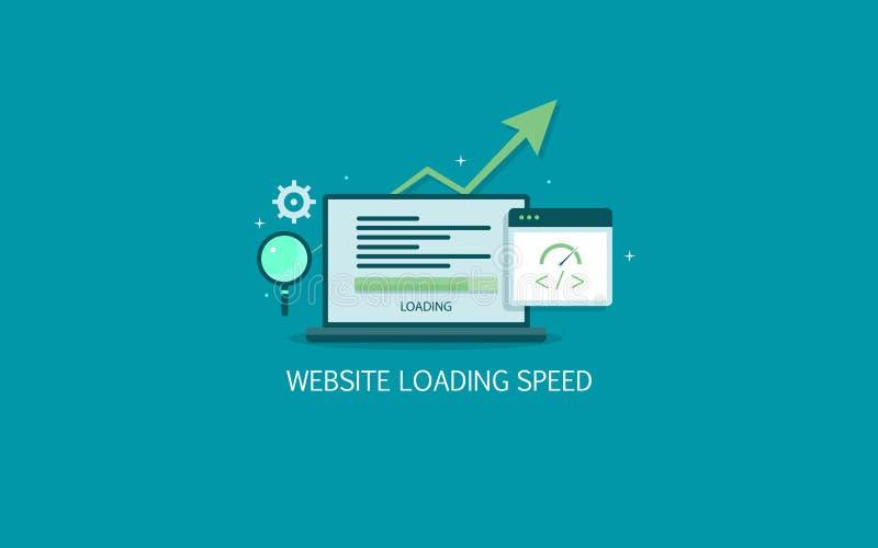 网站装载的速度,搜索引擎优化,网页速度测试平的设计传染媒介横幅 向量例证