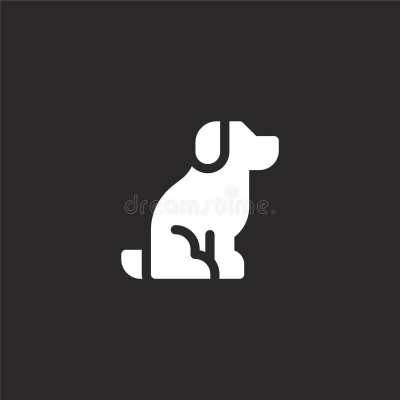 ?? 网站设计和机动性的,应用程序发展被填装的狗象 从在黑色隔绝的被填装的狗收藏的狗象 库存例证