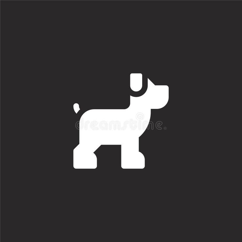 ?? 网站设计和机动性的,应用程序发展被填装的狗象 从在黑色隔绝的被填装的狗收藏的狗象 向量例证