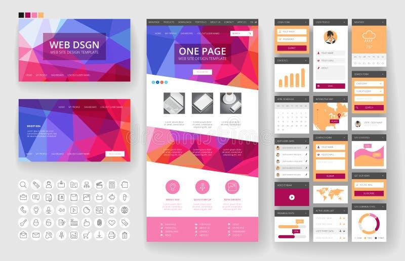 网站设计模板和接口元素 库存例证