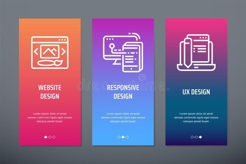网站设计,敏感设计,与强的隐喻的UX设计垂直的卡片 皇族释放例证