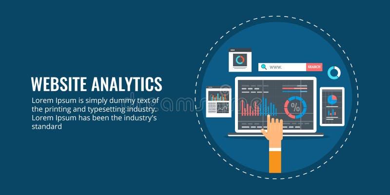 网站逻辑分析方法、数据分析、市场报告、企业信息、成长和表现概念 平的设计横幅 皇族释放例证