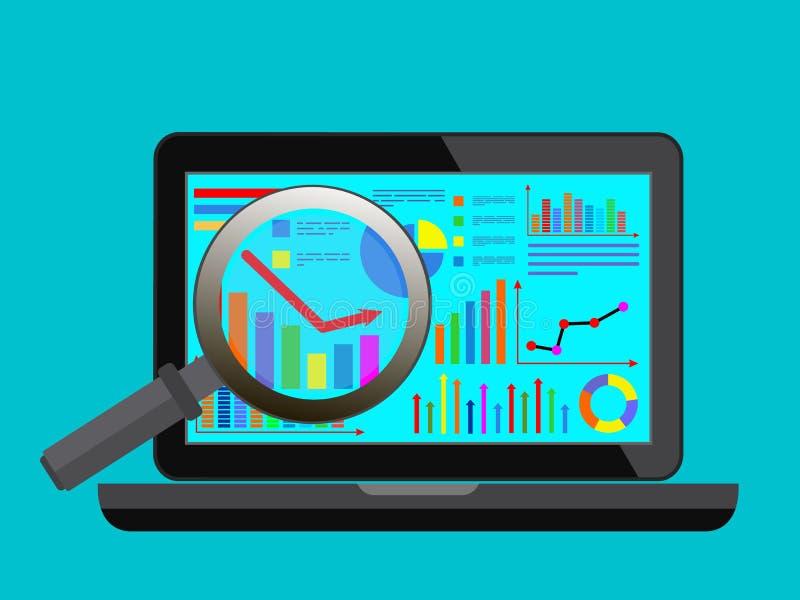 网站逻辑分析方法查寻信息的概念 平的设计现代传染媒介例证 库存例证