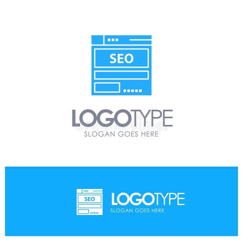 网站,服务器,数据,主持,Seo,与地方的技术蓝色坚实商标口号的 向量例证