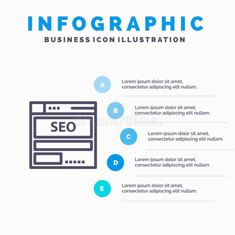 网站,服务器,数据,主持,Seo,技术线象有5步介绍infographics背景 皇族释放例证