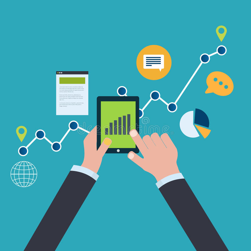 网站逻辑分析方法和SEO数据分析的概念 向量例证