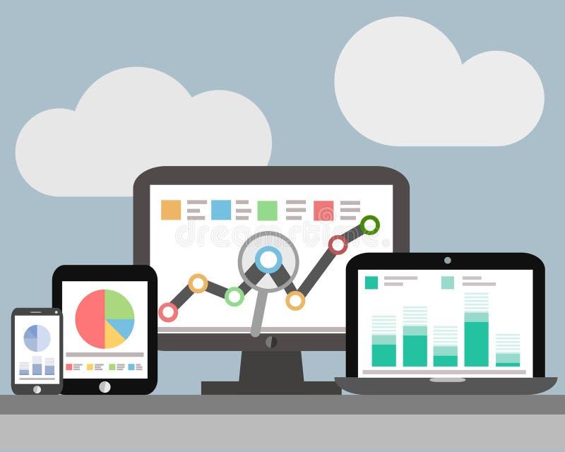 网站逻辑分析方法和SEO数据逻辑分析方法 向量例证