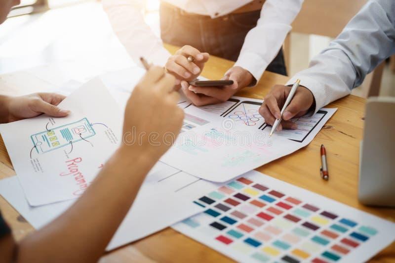 网站desing关于颜色wireframe布局流动应用计划的设计师发展UI/UX 用户经验概念 免版税库存图片