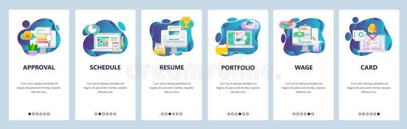 网站onboarding的屏幕 企业任务安排、CV和股份单,通入卡片 菜单传染媒介横幅模板为 向量例证