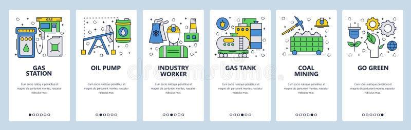 网站onboarding的屏幕 力量能源业、加油站和油泵 菜单传染媒介网站的横幅模板 皇族释放例证