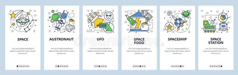 网站onboarding的屏幕 外层空间,行星,alines,太空火箭发射 菜单传染媒介网站的横幅模板 向量例证