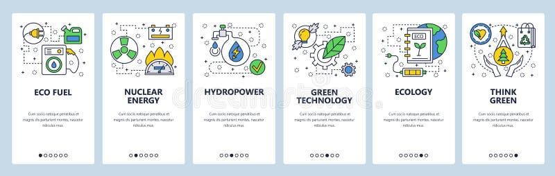 网站onboarding的屏幕 生态和绿色能源技术 菜单传染媒介网站和流动应用程序的横幅模板 库存例证