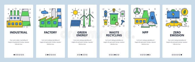 网站onboarding的屏幕 绿色和可再造能源 发电站和零的放射 菜单传染媒介横幅模板 皇族释放例证