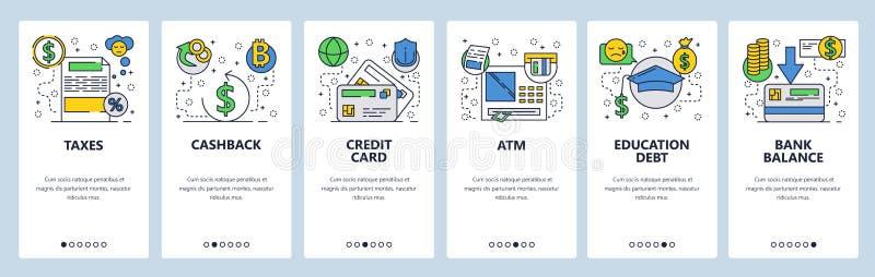 网站onboarding的屏幕 银行业务和金融服务,cashback,信用卡,atm,税 菜单传染媒介横幅 向量例证
