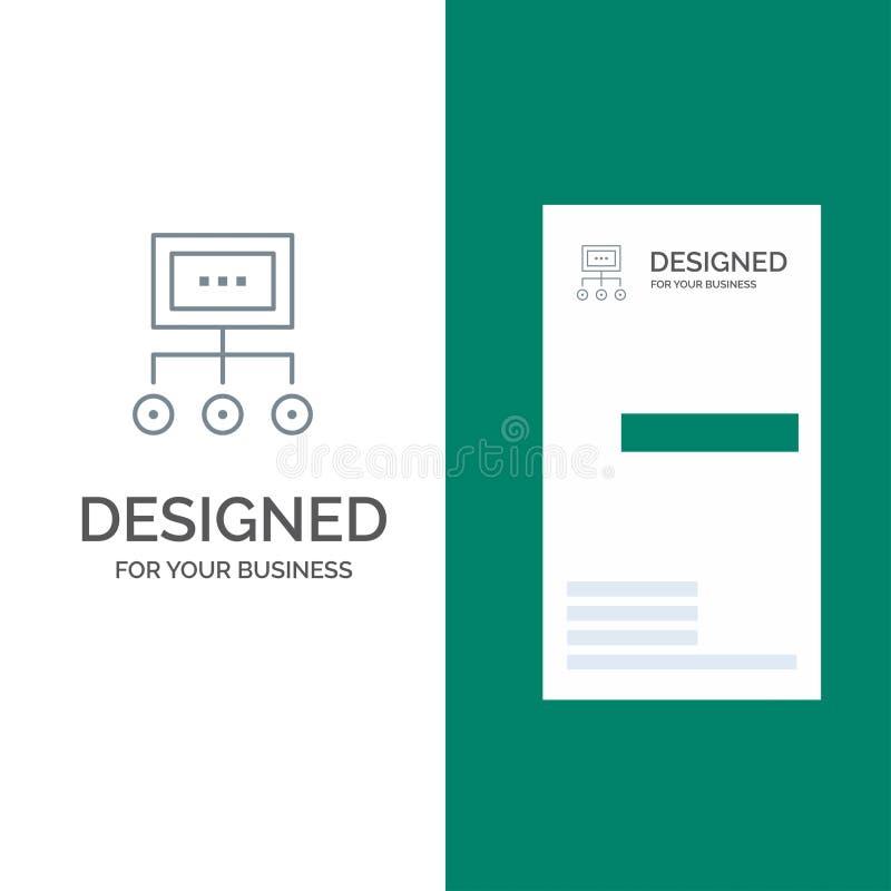 网络、事务、图、图表、管理、组织、计划、处理灰色商标设计和名片模板 库存例证