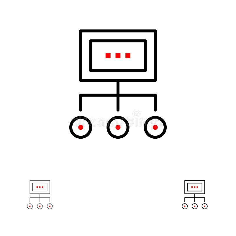 网络、事务、图、图表、管理、组织、计划,处理大胆和稀薄的黑线象集合 库存例证